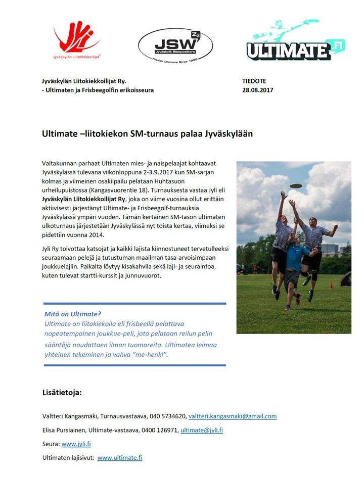 ULTIMATEN SM-TURNAUS PALAA JYVÄSKYLÄÄN 2-3.9.2017